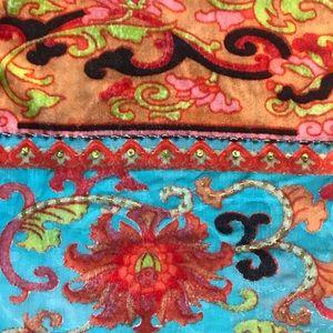Silk Wrap scarf, burn out, beaded on both border.